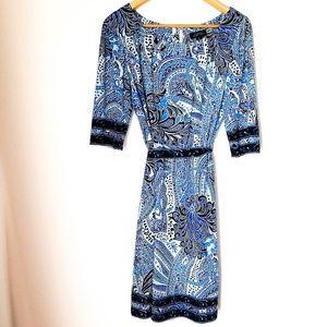 Tahari | A-Line Paisley Pattern Midi Dress